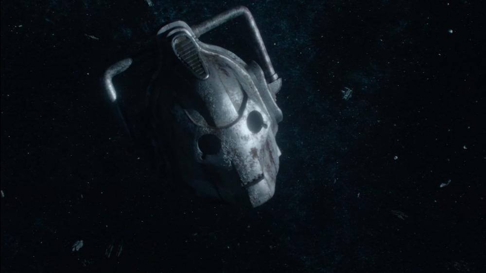 Cyberman head floating in space