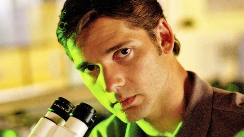 Bruce Banner using microscope