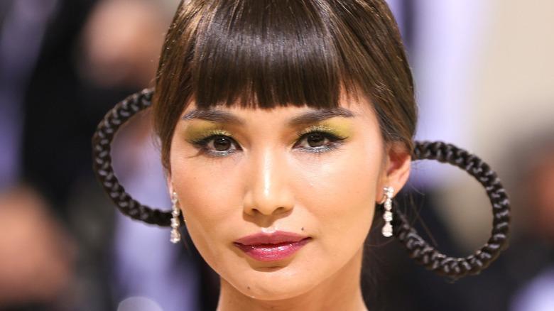 Gemma Chan wearing yellow eyeshadow