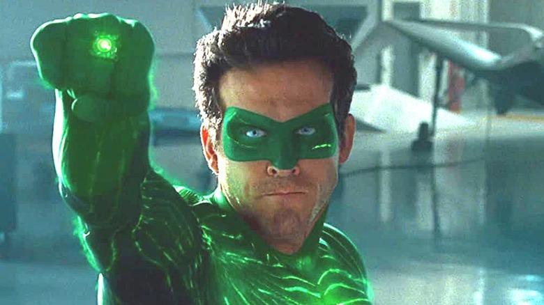 Ryan Reynolds holding up Green Lantern ring