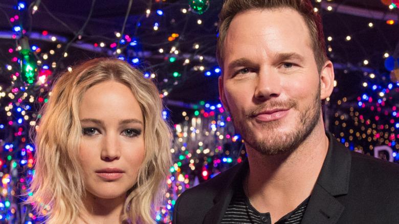 Chris Pratt and Jennifer Lawrence pose