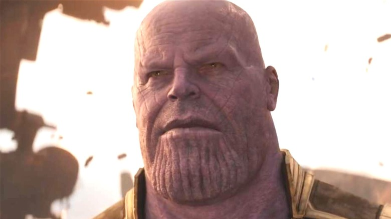 Thanos frowning in wreckage
