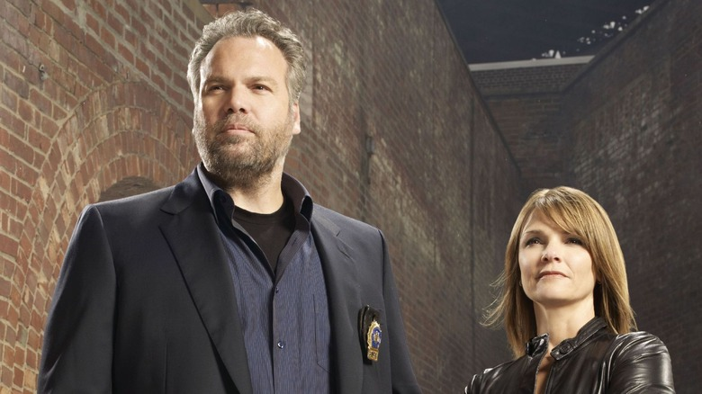Kathryn Erbe and Vincent D'Onofrio as Goren and Eames