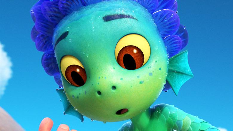 Luca as sea creature in Disney/Pixar movie