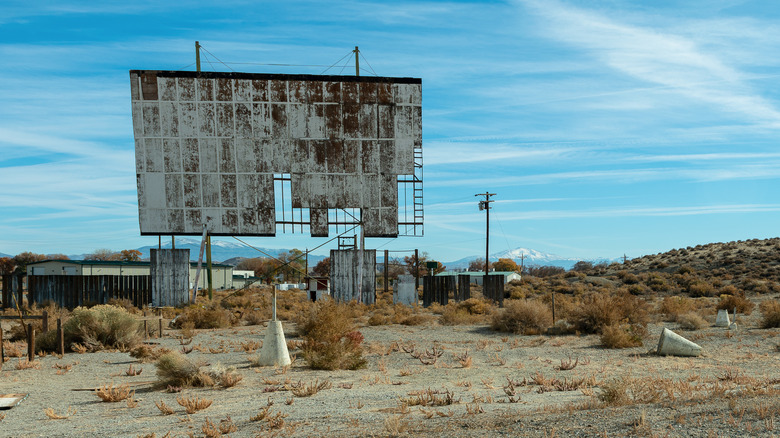 an abandoned drive-in theater