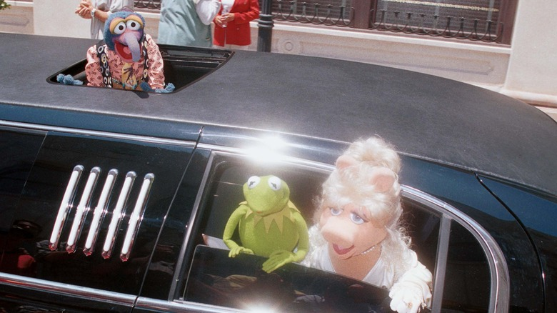 Muppets Gonzo, Kermit, Miss Piggy at the Muppets from Space premiere