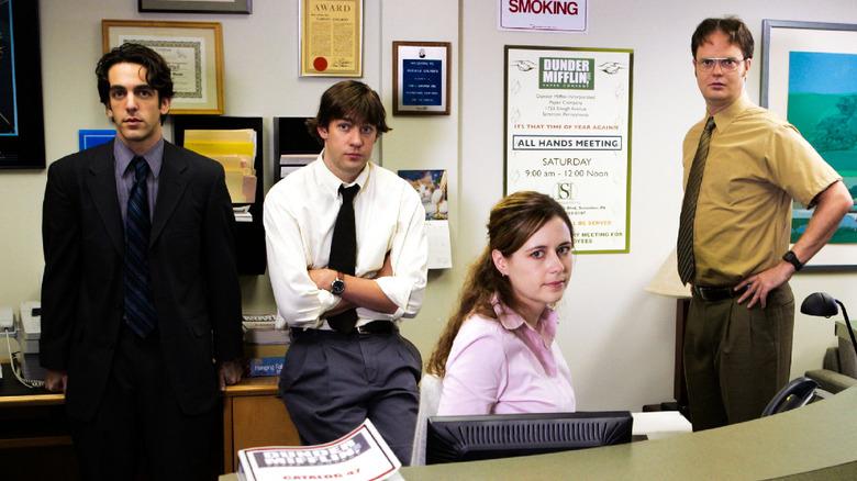 BJ Novak, John Krasinski, Jenna Fischer, and Rainn Wilson as Ryan, Jim, Pam and Dwight on The Office