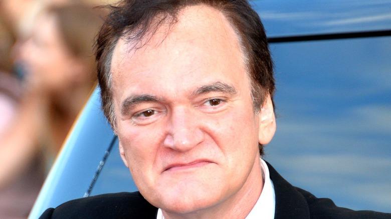 Quentin Tarantino looking stern