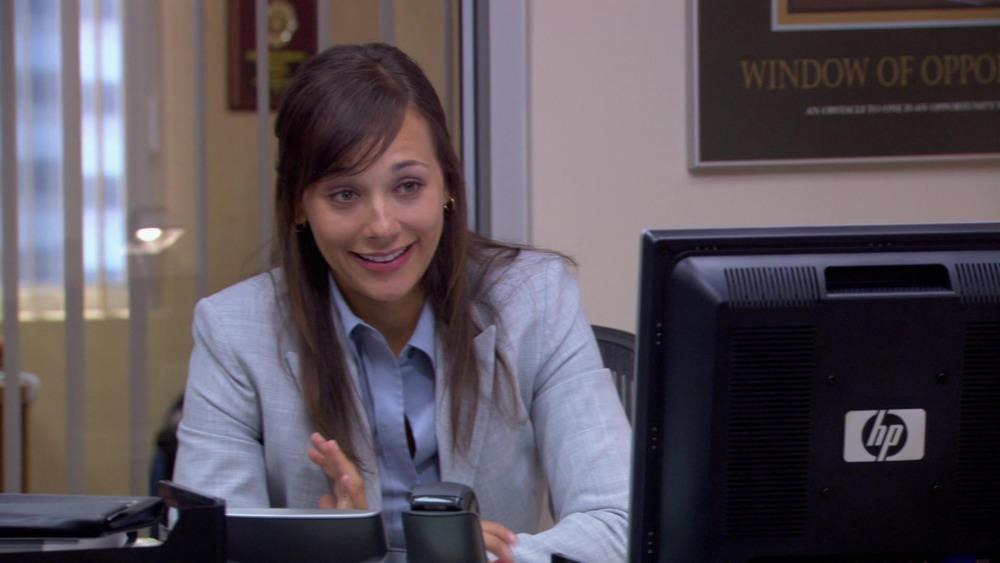 Karen Filippelli (Rashida Jones) at the computer on The Office