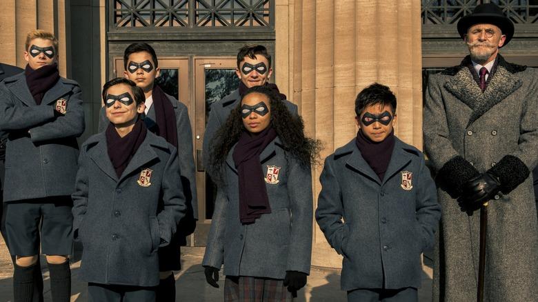 Cameron Brodeur, Blake Talabis, Eden Cupid, Dante Albidone, Aidan Gallagher, and Ethan Hwang as the young Umbrella Academy