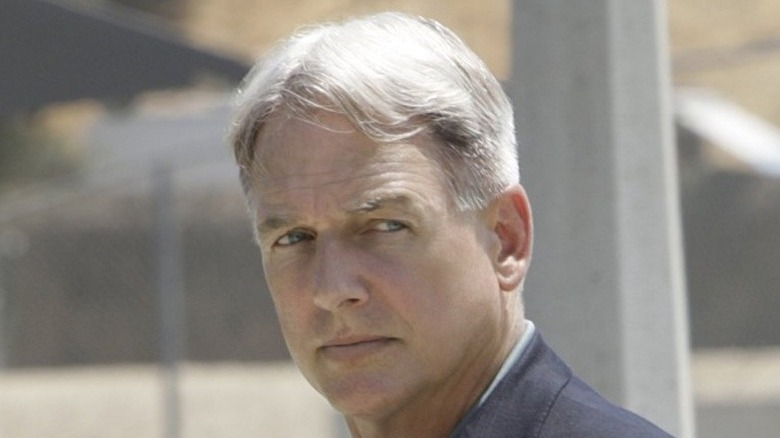 "Mark Harmon looking serious on ""NCIS"""
