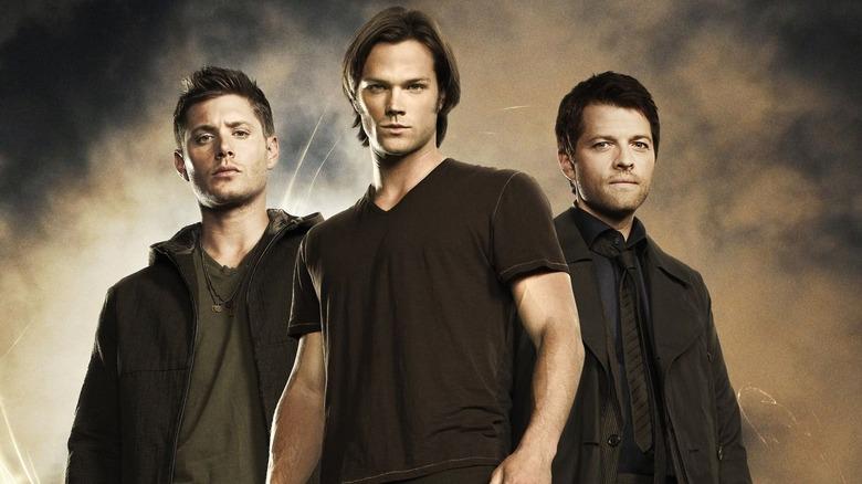 Misha Collins, Jared Padalecki, and Jensen Ackles in Supernatural