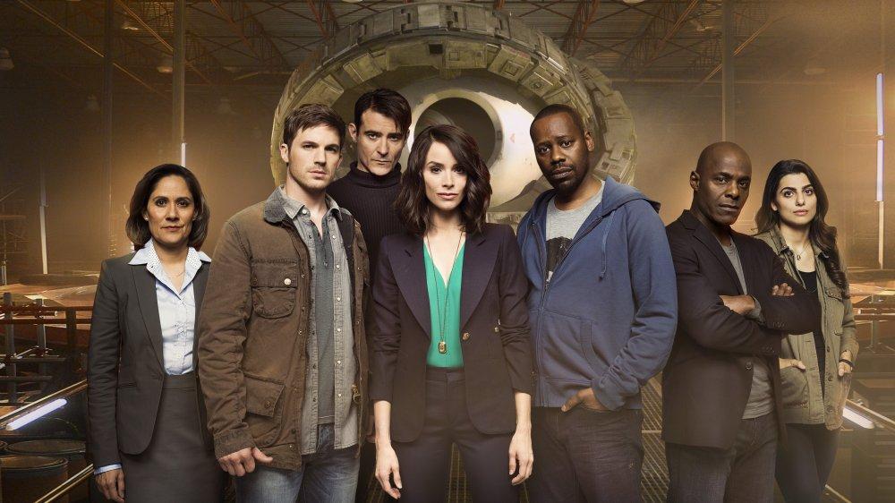 Abigail Spencer, Matt Lanter, and Malcolm Barrett as Lucy, Wyatt, and Rufus in Timeless.