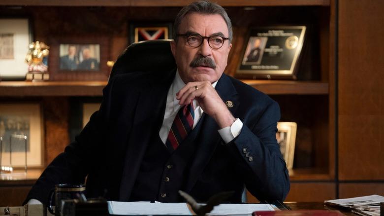 Frank Reagan (Tom Selleck) at his desk on Blue Bloods