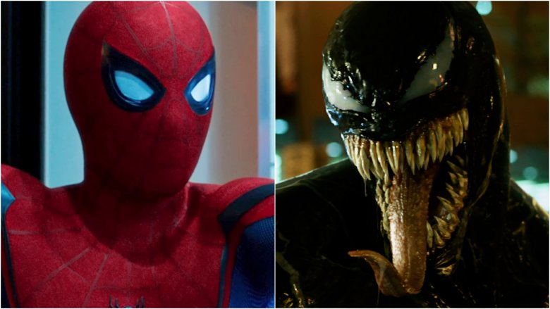 Split image of Spider-Man and Venom