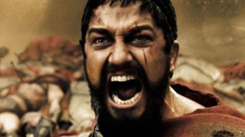 Leonidas yelling a battle cry