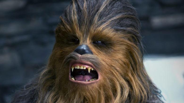 Chewbacca roaring loudly