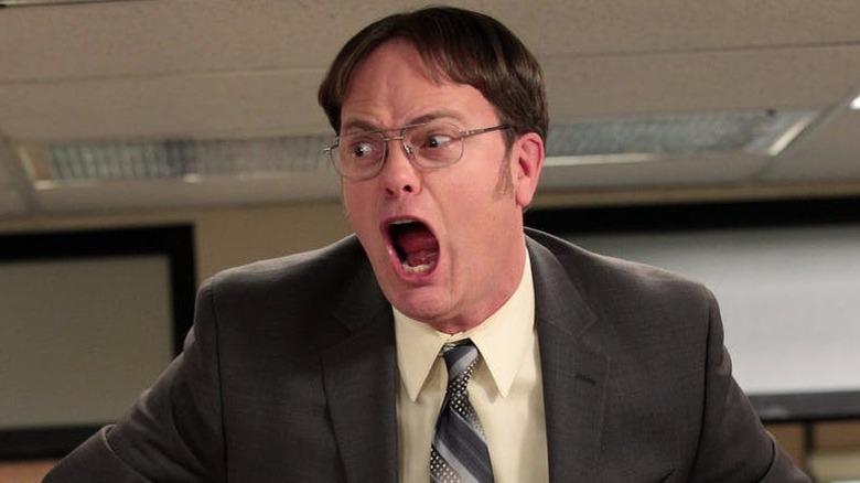 Rainn Wilson as Dwight Schrute on The Office screaming