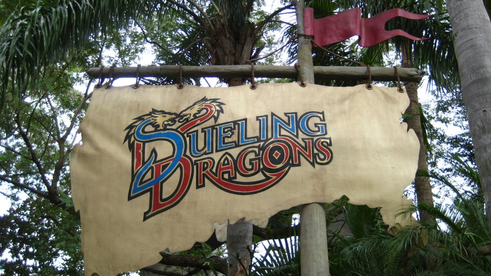 The sign for Dueling Dragons that used to be at Universal Studios Orlando