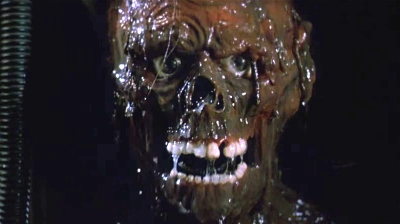Close up on tarman in The Return of the Living Dead