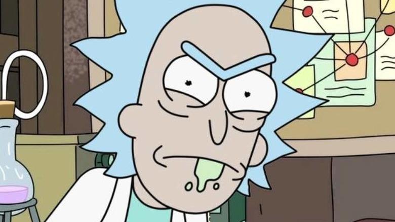 Rick glaring in the garage