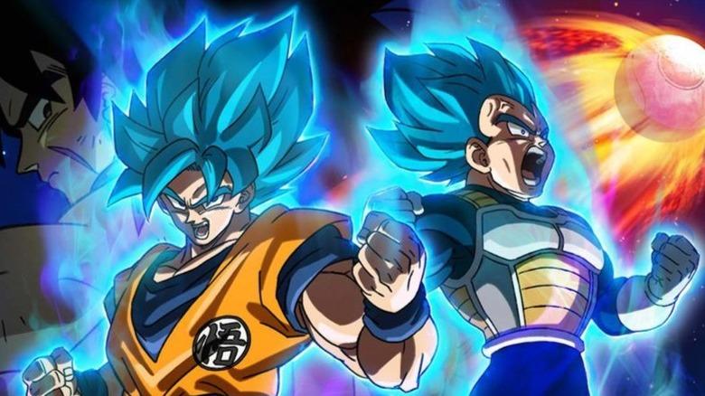 Super Saiyan Blue Goku and Vegeta powering up while Broly watches from behind