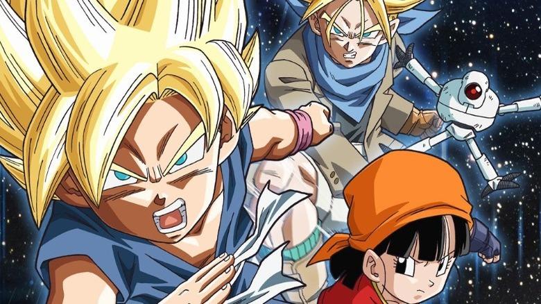 Kid Goku, Trunks, Pan and Giru from Dragon Ball GT