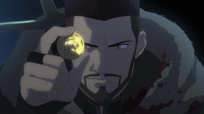 Vesemir looking at a coin