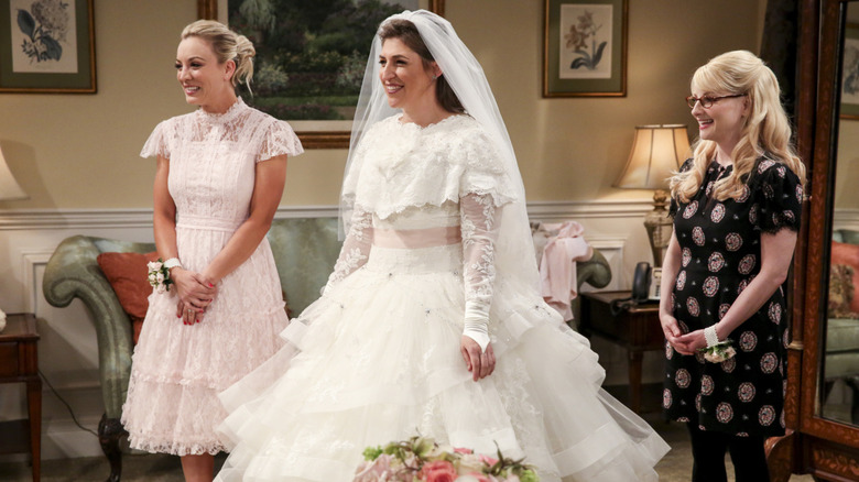 A still from Amy and Sheldon's wedding on The Big Bang Theory