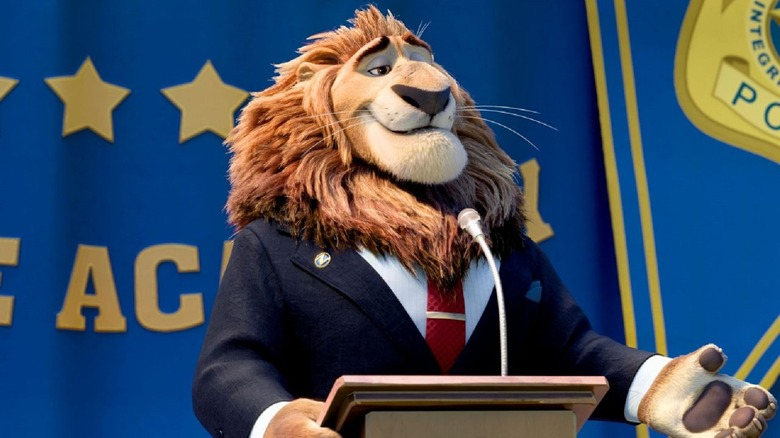 Mayor Lionheart smiling behind podium