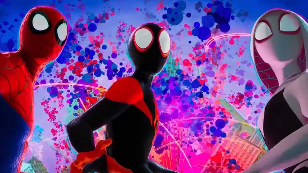 Jake Johnson, Shameik Moore, and Hailee Steinfeld in Into the Spider-Verse