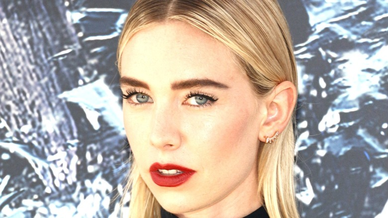 Vanessa Kirby wearing fiery lipstick