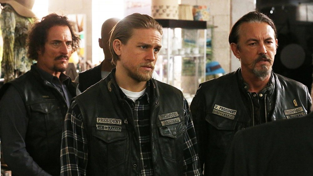 Charlie Hunnam, Kim Coates, and Tommy Flanagan as Jax, Tig and Chibs on Sons of Anarchy