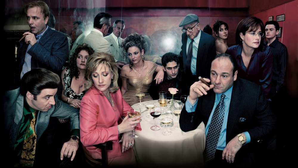 James Gandolfini, Edie Falco, and more in a promotional photo for HBO's The Sopranos