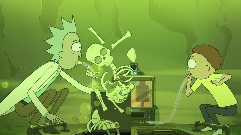 Rick and Morty with the fake vat of acid on Rick and Morty