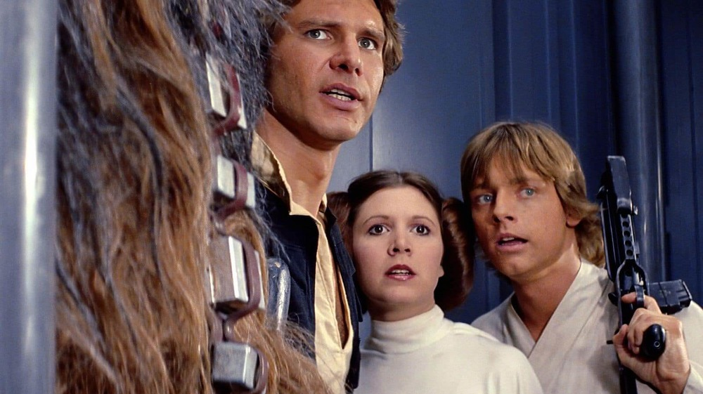 Harrison Ford, Carrie Fisher, and Mark Hamill in Star Wars: A New Hope