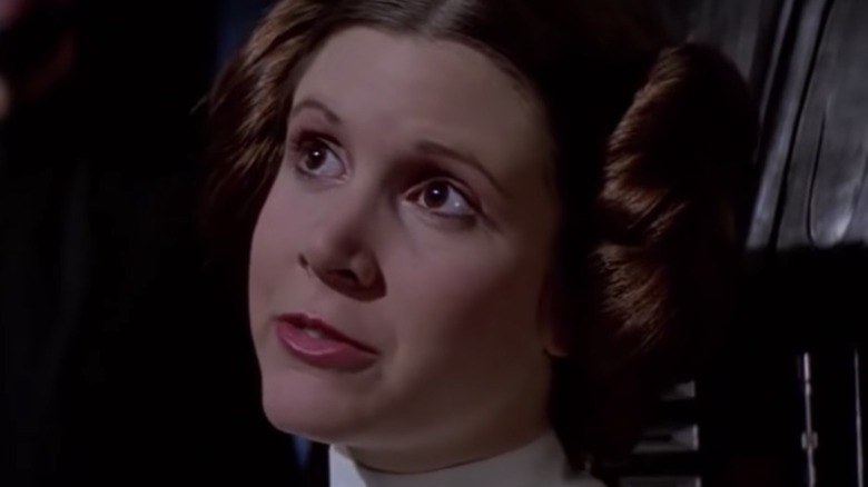 Princess Leia (Carrie Fisher) with Darth Vader in Star Wars: A New Hope