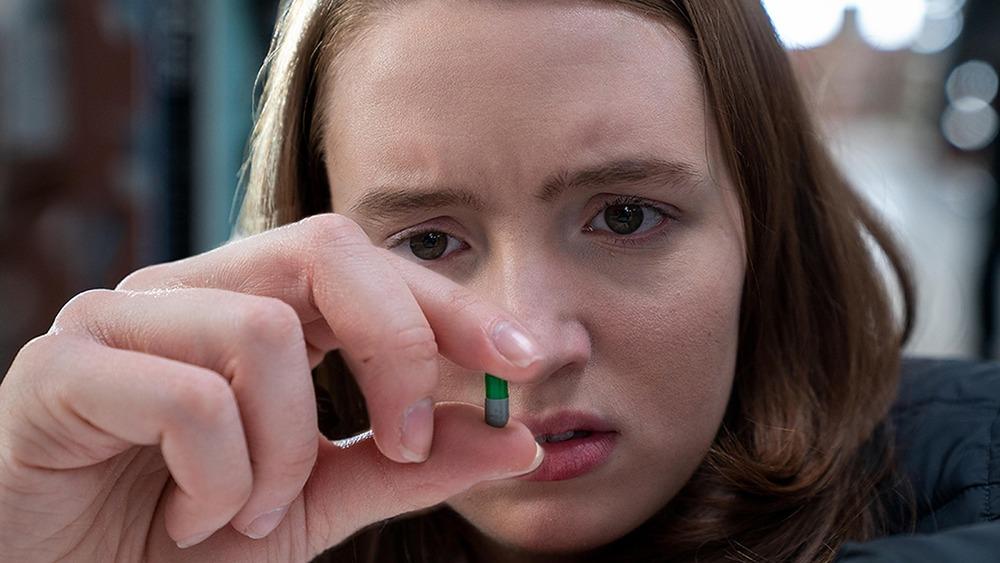 Chloe with pill in Run (2020)