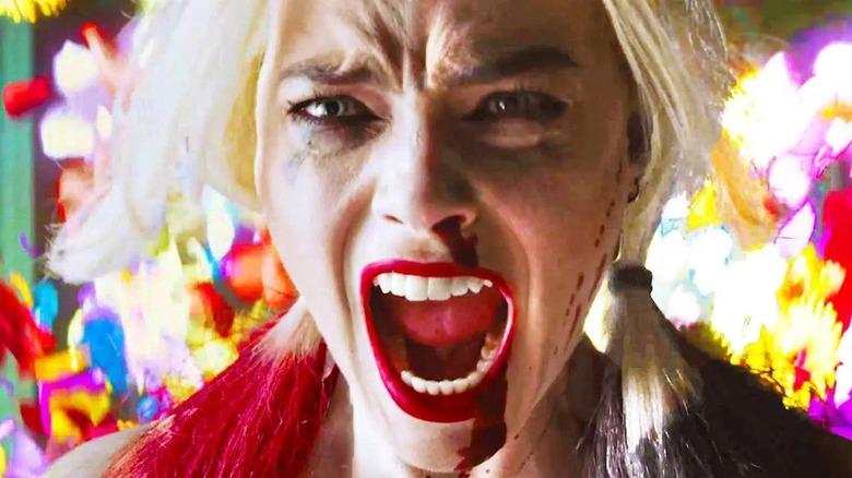 Harley Quinn bloody nose screaming