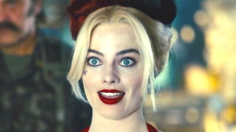Harley Quinn wide-eyed