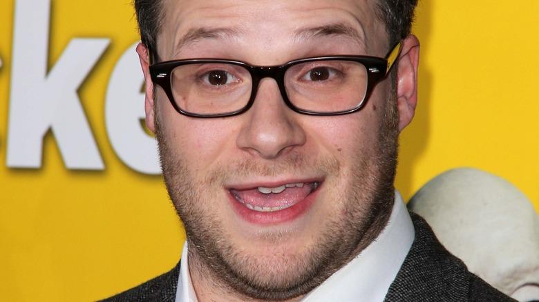 Seth Rogen Head Yellow Background