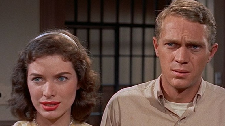 Jane Martin and Steve McQueen close-up in The Blob 1958
