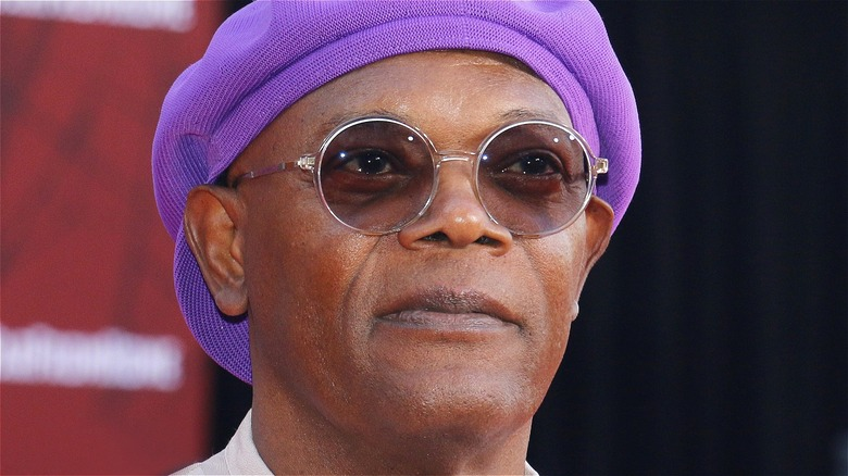 Samuel L. Jackson wearing a hat and glasses