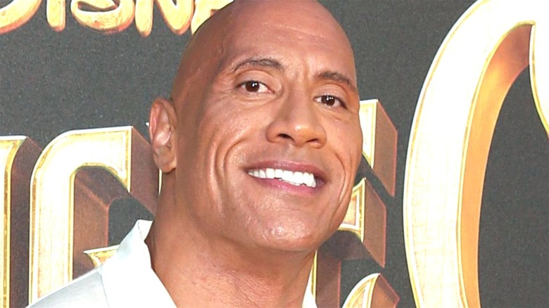 Dwayne Johnson smiling at a Jungle Cruise event