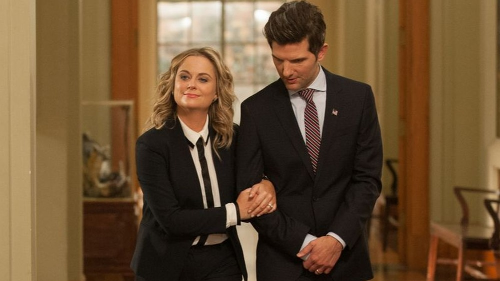 Amy Poehler as Leslie Knope and Adam Scott as Ben Wyatt on Parks and Recreation
