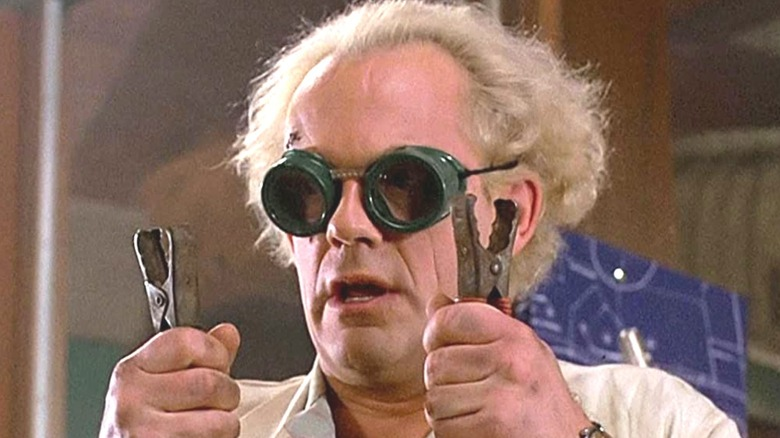 Doc Brown wearing goggles