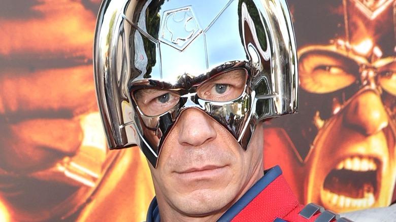 John Cena wearing Peacemaker helmet