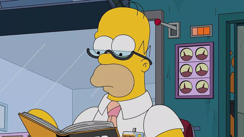 Homer reading in The Simpsons