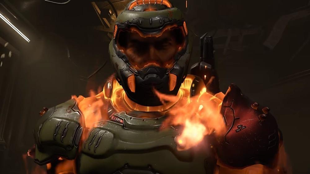 Doomguy in flames