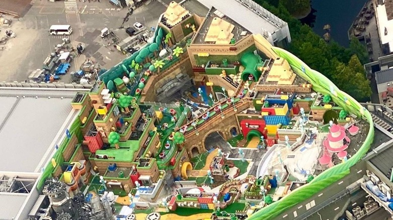 An aerial view of the Super Nintendo theme park in Japan